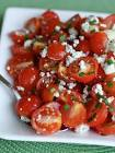 cherry tomato salad with blue cheese