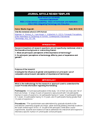 Journal Article Review Template