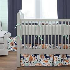 ... Navy and Orange Woodland Crib Bedding