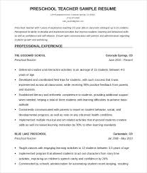 Teacher Resume Templates Preschool Teacher Resume Template Teacher