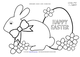 Easter Coloring Page 20 Happy Easter Big Bunny Plain Egg Flowers