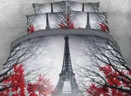 64 3d paris eiffel tower and maple leaves printed cotton 4 piece bedding sets