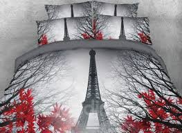 64 3d paris eiffel tower and maple leaves printed cotton 4 piece bedding sets