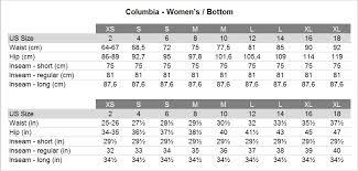 Columbia Size Chart Columbia Ws Back Beauty Ii Pants