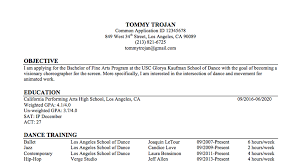 Applicant Resumes Annes Admission Advice Dance Resume Usc Glorya Kaufman