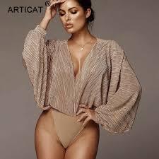 Articat <b>Off Shoulder</b> Ribbed Knitted <b>Sexy</b> Bodysuit <b>Women</b> Black V ...