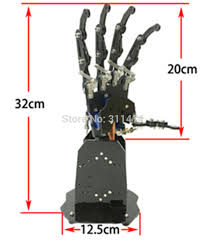 Robot Size Chart Us 127 99 1piece 5dof Bionic Robot Hand Claw Palm Manipulator 5 Fingers Independent Movement Installed Rc Diy Model In Action Toy Figures From