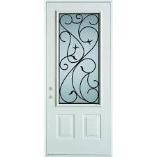 Stanley Doors 36 in. x 80 in. Silkscreened Glass 3/4 Lite 2-Panel ...