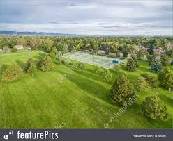 Grass field aerial Top Nature Landscapes Aerial View Of One Of Parks In Fort Collins Colorado With Featurepicscom Park And Tennis Courts Aerial View Picture