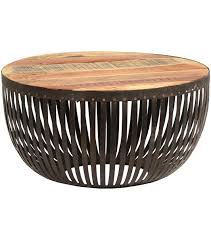 round drum coffee table dark metal cage wood top throughout decor 15