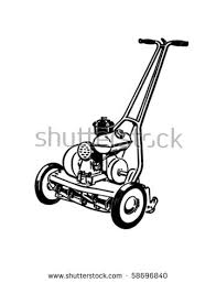 lawnmower drawing. gas lawn mower - retro clip art lawnmower drawing