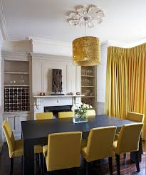 yellow dining room chairs farmhouse lighting