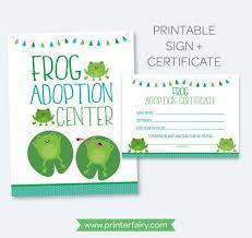 Pet Adoption Certificate Template Frog Adoption Party Pet Adoption Sign Adoption