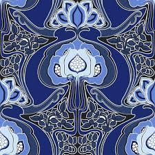 347211 wallpaper art nouveau fl pattern royal blue