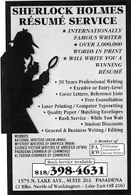 Free Resume Writing Services Awesome SHERLOCK HOLMES