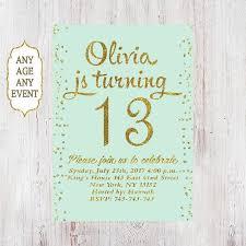 13th Party Invitations 13th Birthday Invitation Birthday Party Invitations Teen Girl Mint And Gold 14th 15th 16th 17th 18th 19th Any Age 04