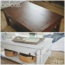 milk paint coffee table makeover