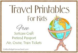 Free Passport Template For Kids Custom Travel Printables For Kids Pretend Passport Suitcase Craft