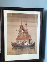 william heath robinson print of spring cleaning noah s ark framed