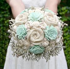 custom hand dyed pastel mint green wildflower alternative bride s bouquet wedding flowers wood flowers fabric rosettes burlap