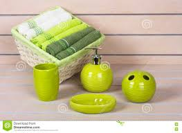 White Wooden Bathroom Accessories Lime Green Bath Accessories With Towels Basket On Wooden