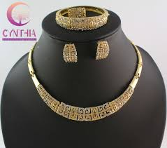 top quality african costume necklace set gold color necklace fashion full rhinestone necklace jewelry set wb 2104 in jewelry sets from jewelry
