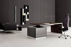 Office Furniture Design Best Modern Style Dark Brown Lacquered Finish  Rectangle Wooden Table Top Black Drawers