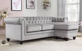 hampton grey velvet l shape