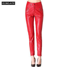senarai harga elegant luxury women real leather trousers lady streetwear genuine leather slim pencil pants red black high waist fashion pants terkini di