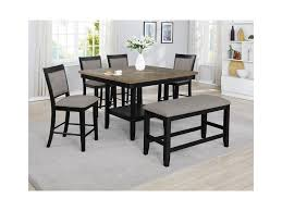 Fulton 6 Pc Counter Height Table Chair Bench Set By Crown Mark At Northeast Factory Direct