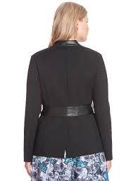 studio faux leather trim blazer