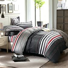 black and grey duvet grey and red stripes printing bedding set queen bed duvet quilt covers