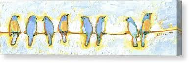 bird on a wire canvas print eight little bluebirds by jennifer lommers on birds on wire canvas wall art with bird on a wire canvas prints fine art america