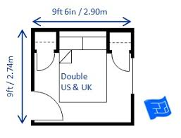 minimum bedroom size for a double bed deep headboard ...