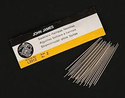 Leather Sewing Thread Size Chart Rmleathersupply John James Saddlers Harness Needles All Sizes Pack Of 25 Blunt Tip For Leather Sewing Size 0 1 0