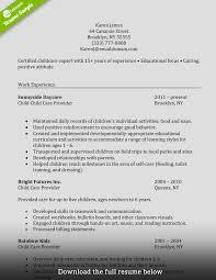 Caregiver Resume Skills Templates Entry Formidable Child Care