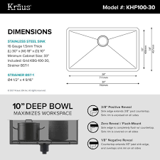 kraus khu100 30. KRAUS KHU100-30 Undermount Stainless Steel 30 In. Single Basin Kitchen Sink Kit Kraus Khu100