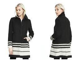 striped on front tailored coat