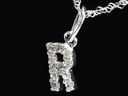diamond pendant pendant initial r k18wg 18 karat gold white gold diamond 0 05ct