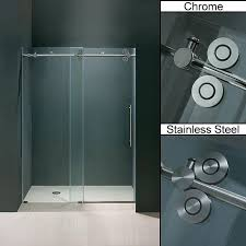 update the look of your bathroom shower stall with these contemporary frameless sliding glass shower doors