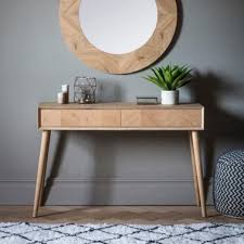 lysia 2 drawer console table solid oak wood natural