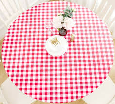 eco vinyl tablecloth red check 60 round
