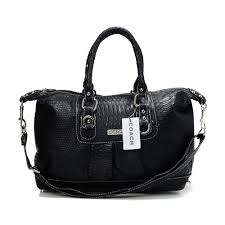 Coach Embossed Medium Black Satchels DDU