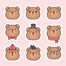 Cute Bear Emoji Sticker Set - BUY 2 GET 1 FREE Buy 2 of our sticker sets  and get a 3rd sticker set of your c… | Emoticon stickers, Cute bear  drawings, Bear emoticon
