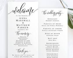 Templates For Wedding Programs Wedding Programs Etsy