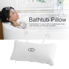 luxury relaxing spongy cushioned white bath spa pillow head neck rest bathroom