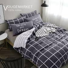 vougemarket super soft 100 cotton 3 pieces black white grid prints duvet cover sets