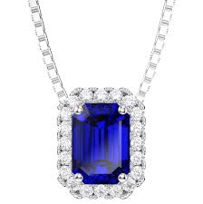 princess 1ct blue sapphire and diamond 18ct white gold rectangle pendant tap to expand