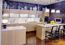 ... Ethnic Interior Decorating Details, Modern Kitchen Design With Accent  Wall Created With Tile Like Wallpaper Pattern