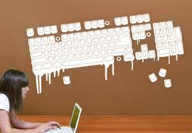 Small Picture Melting Computer Keyboard Wall Sticker Decor for Nerds